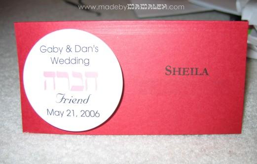 Rehearsal dinner placecard with detachable hebrew button