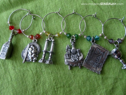Jewish Wine Charms with Swarovski Crystals