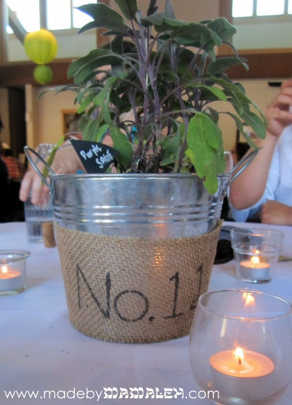 Living Centerpieces in Burlap Covered Buckets with Table No.