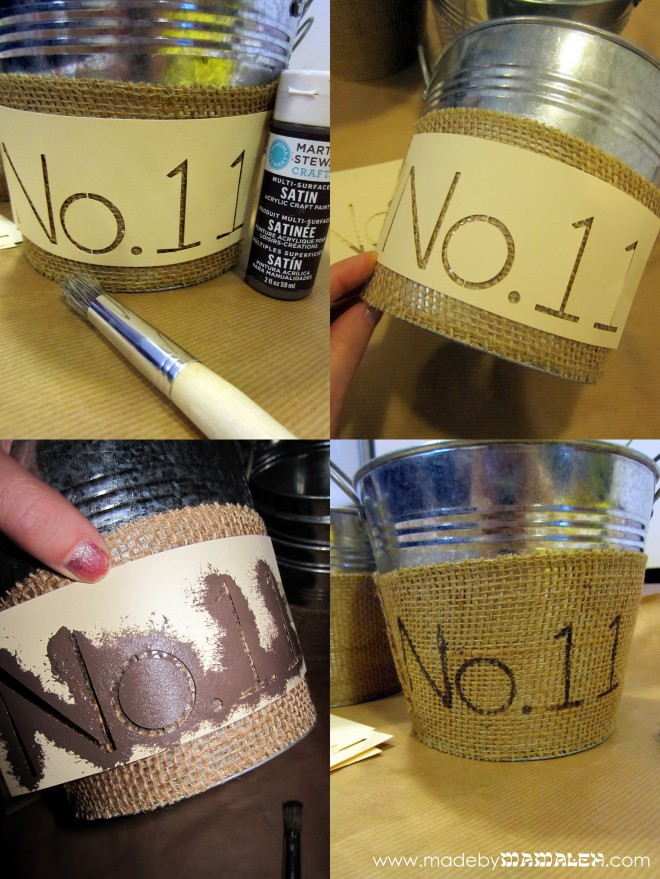 Stenciled Burlap Bucket Wedding Centerpieces