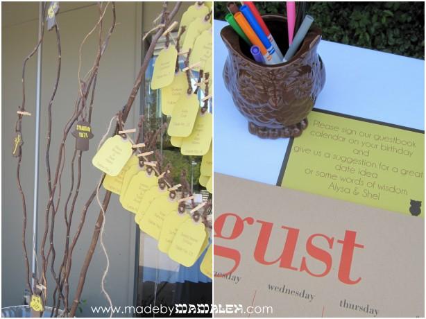 Wedding guest book calendar