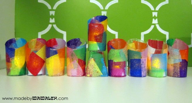 Tissue Paper Battery Menorah from Kiwi Crate