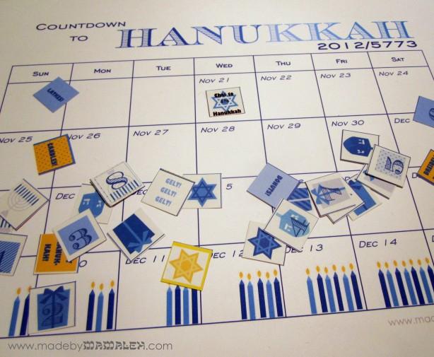 Printable Hanukkah Countdown Calendar