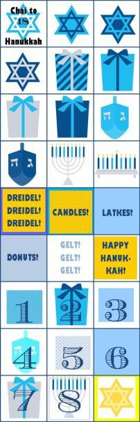 Printable Chai to Hanukkah Countdown Stickers