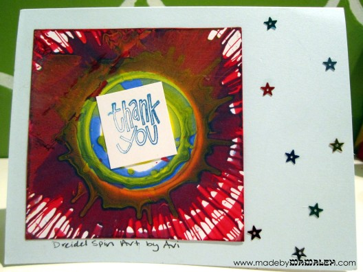 Hanukkah thank you notes from dreidel spin art
