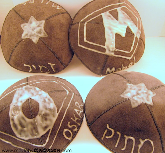 DIY glow-in-the-dark kippahs