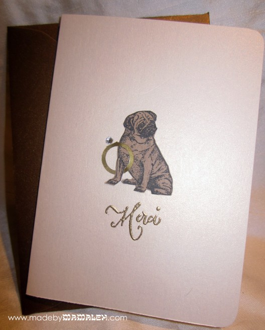 Handmade Pug Thank you Card madebymamaleh.com