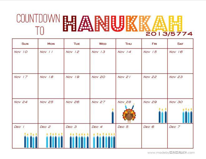 Hanukkah Countdown Calendar 2013