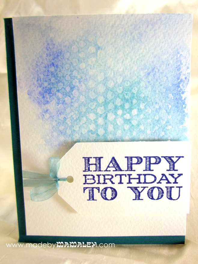 Watercolor stencil card madebymamaleh