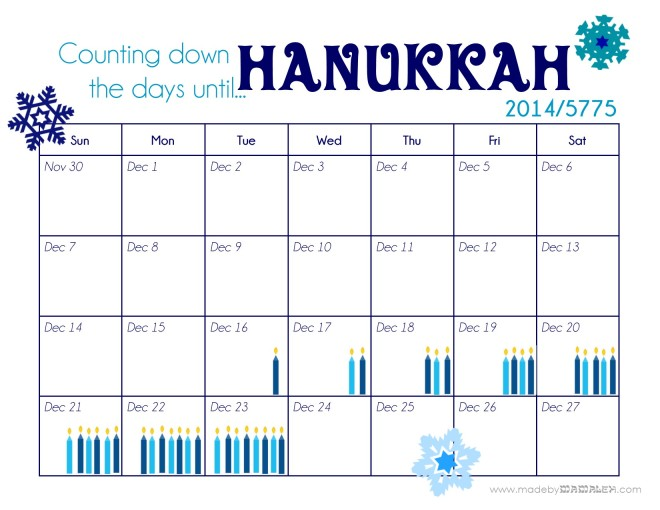 Hanukkah Calendar 2014