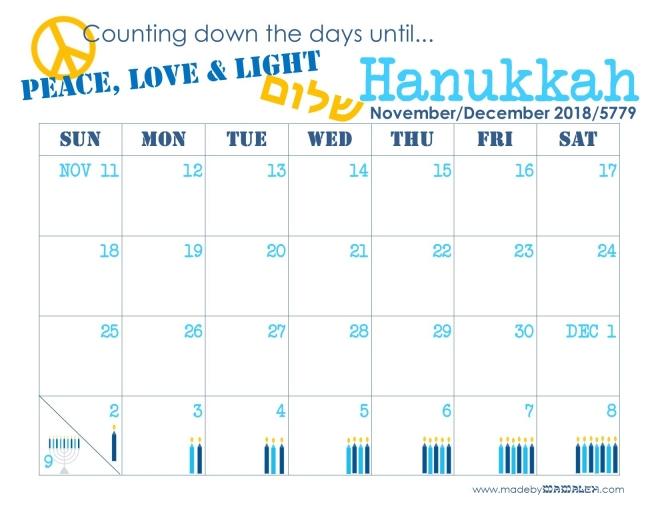 Hanukkah Countdown Calendar madebymamaleh.com