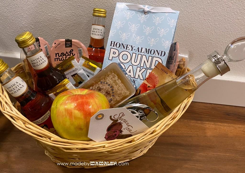 Rosh Hashanah gift apples,, honey and pomegranate gift basket madebymamaleh